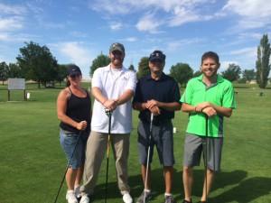 Alliance's Nampa golf team - Left to right:  Sabrina Polfer (Washington Trust Bank), Mychal Stiehl, Blake Napier, Bobby Haymes (Silverhawk Realty)