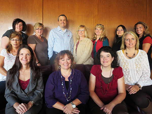 Back row, left to right:  Janel Young, Becky Loomis, Todd Davis, Lori Hoover, Kathy Lords, Kathlean Brown, Jennifer Schernecker. Bottom row, left to right:  Corrinna Schnepf, Heather Erickson, Vicky Hanson, Danna Weekes, and Alison Banta. (Not picture:  Dan Hanna).