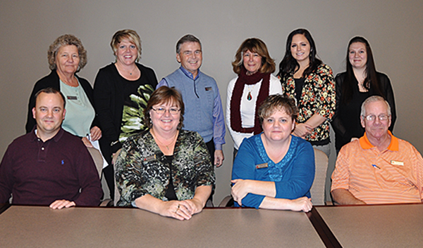 Front row, left to right:  Ryan Jensen, Laurie Cromwell, Tammy Long, and Chris Stohl.  Back row, left to right:  Cathy Buck, Shannon Croft, Ron Romrell, Milli Gabettas, Whitney Gilstrap, Rachael Payne. Not pictured:  Diane Dexter