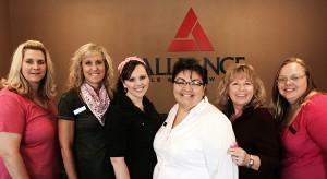 Alliance Title's Ladies in Pink (left to right):  Cheree Bartram, Teri Patterson, Tara Lehman, Marisela Pesina, Dennise Davidson, and Ann Santa Rosa.
