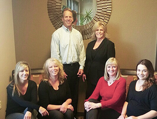 Back row, left to right: Kevin Brocke and Kimberlie Blasius. Front row, left to right: Tonya Reeves, Shannon Loux, Sharla Dudding, and Chelsea Karling.