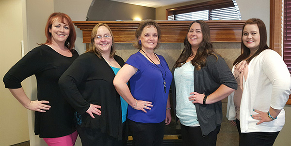Left to right: Kathy Silver, AmyJean Skidmore, Joy Denning, Kassandra McLean, and Brittany Carlson.