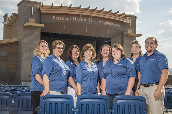 Front row, left to right: Mari Tusch, Lisa Armijo, Kelci Crossley, and Curtice Smith. Back row, left to right: Libbie Calzada, Brandi Cook, Kellie Noesen, and Lisa Jones. Not pictured: Adriana Mendez, Megan Benedetti, and Melinda Marinelli.